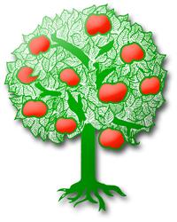Das Logo unseres Vereines, ein Apfelbaum mit schönen, roten Früchten
